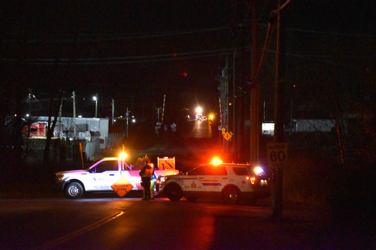 "Surrey RCMP are investigating a ""serious"" collision near Cloverdale Saturday evening. (Curtis Kreklau photo)"