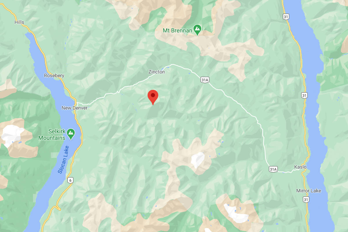 A West Kootenay man died in an avalanche on March 4 while snowmobiling near Mount Payne, which is indicted by the red flag. Illustration: Google Maps