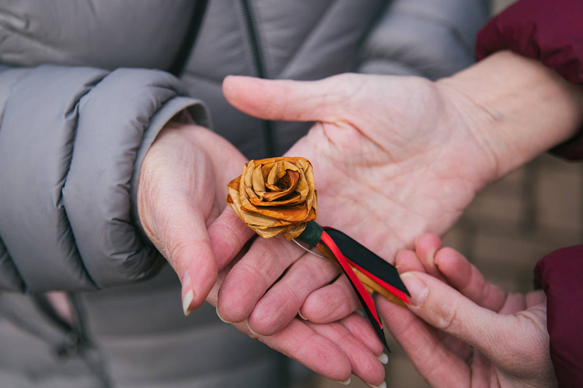 A cedar rose to remember missing and murdered Indigenous women in Canada. On Monday, March 8, 2021, International Women's Day, TWU opened an outdoor story walk (Cheyanne Makelki/TWU)