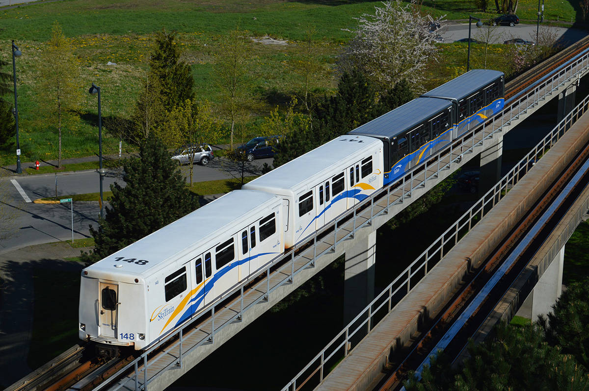 SkyTrain running through Whalley. (File photo: Tom Zytaruk)