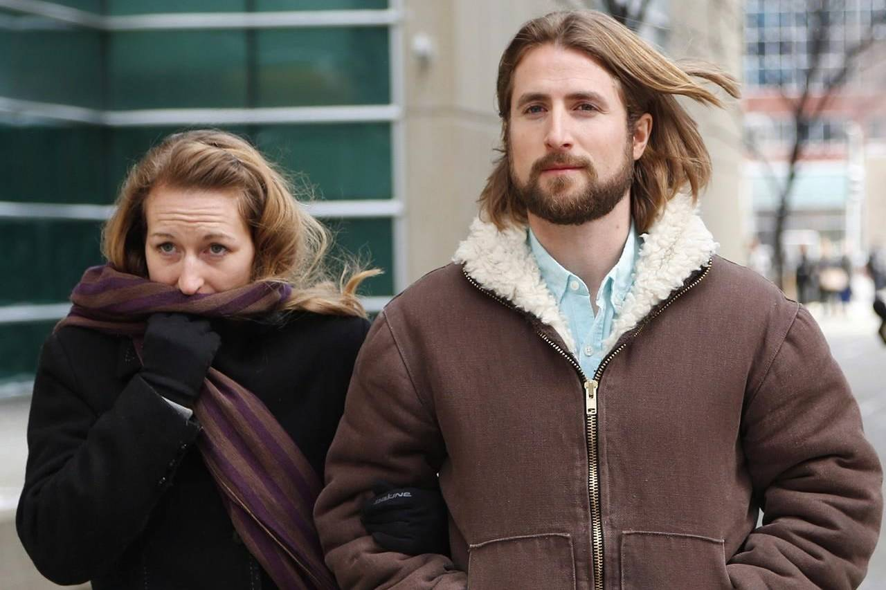 David and Collet Stephan leave for a break during their appeal hearing in Calgary on Thursday, March 9, 2017. THE CANADIAN PRESS/Todd Korol