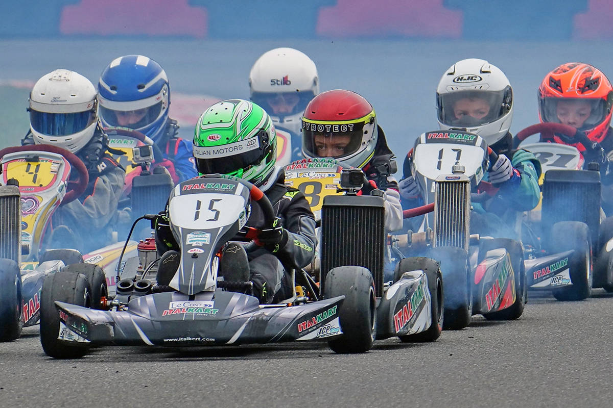At nine, Langley's Grayson Talaba, seen here in a 2019 race, has several wins under his belt and is preparing to resume racing following a truncated 2020 season due to the pandemic. (Stephen Frye/Special to Langley Advance Times)