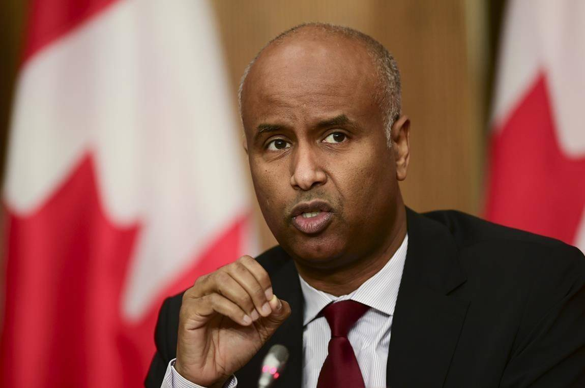 Minister of Families, Children and Social Development Ahmed Hussen takes part in an update on the COVID pandemic during a press conference in Ottawa on Tuesday, Oct. 27, 2020. A joint federal and B.C. government housing program announced today aims to help people living in up to 25,000 vulnerable households pay their rent. THE CANADIAN PRESS/Sean Kilpatrick