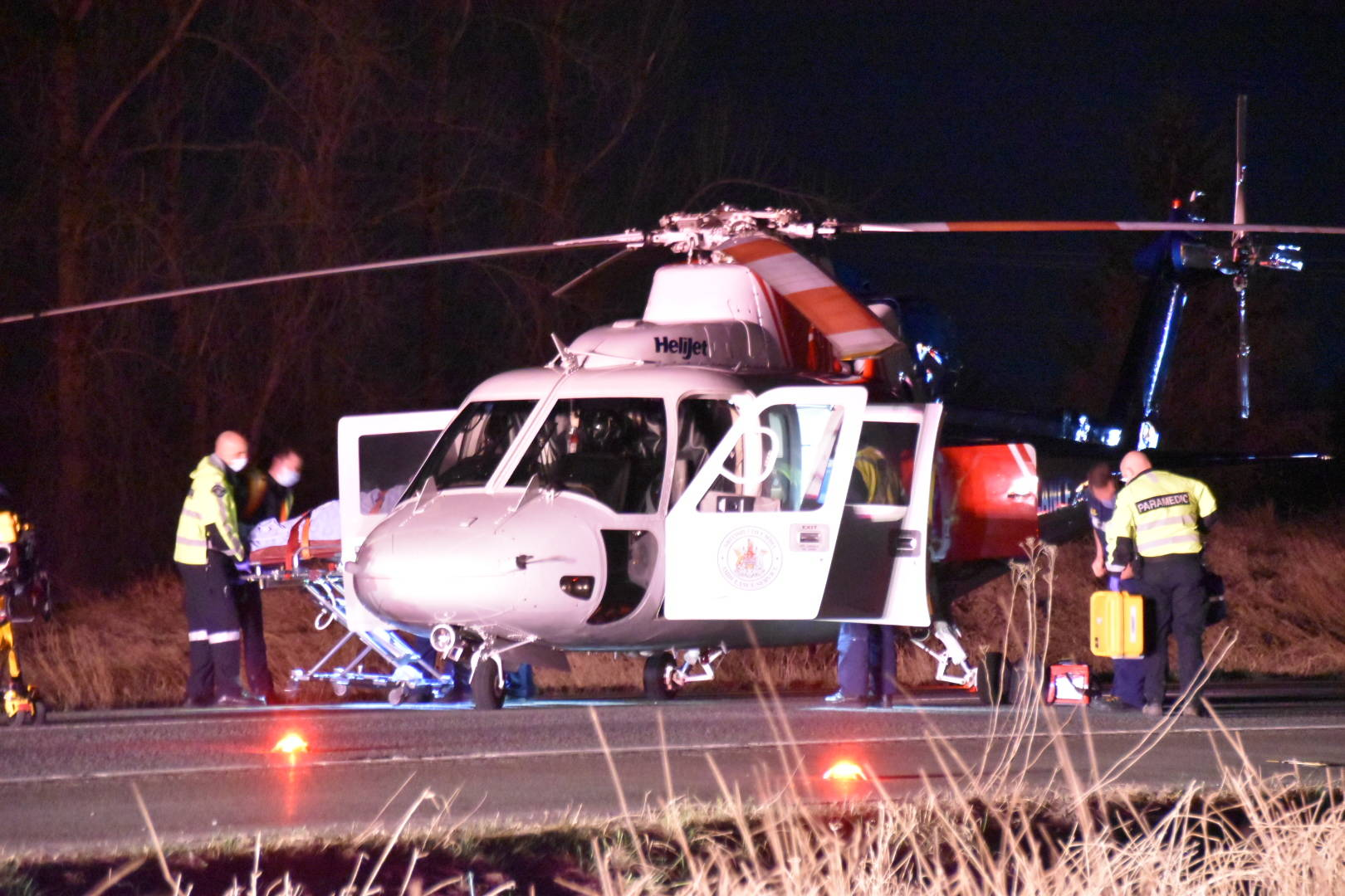 Emergency crews were called to a multi-vehicle crash eastbound on the Trans-Canada Highway, just east of 264th Street in Langley, around 8:30 p.m. on Monday, March 8, 2021. (Curtis Kreklau/Special to Langley Advance Times)