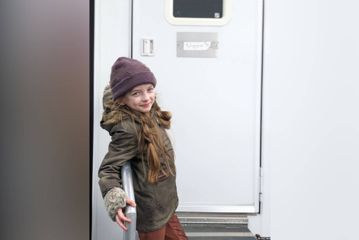"Cloverdale actress Emma Oliver is seen in her ""Tailie"" costume during some downtime while filming the Netflix series Snowpiercer. (Photo submitted)"