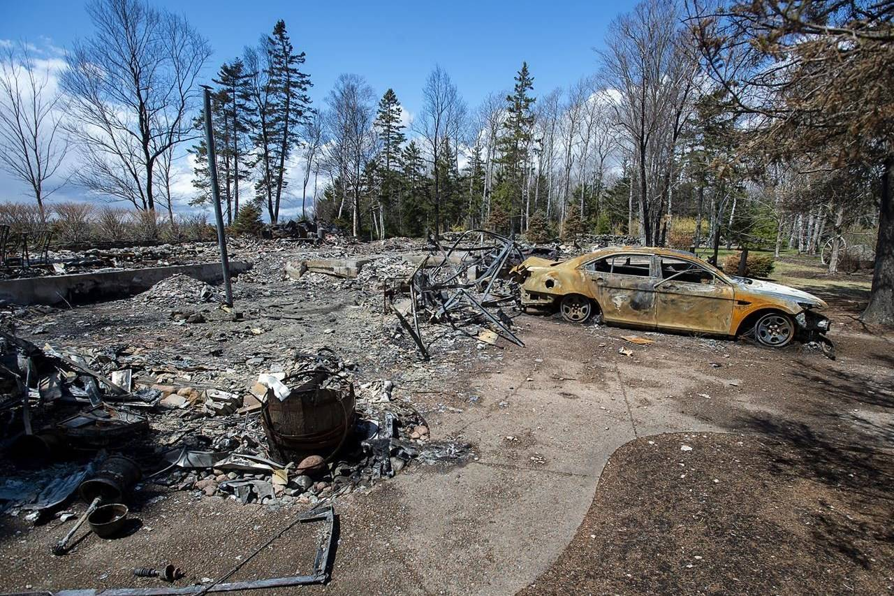 A fire-destroyed property registered to Gabriel Wortman at 200 Portapique Beach Road is seen in Portapique, N.S. on May 8, 2020. THE CANADIAN PRESS/Andrew Vaughan