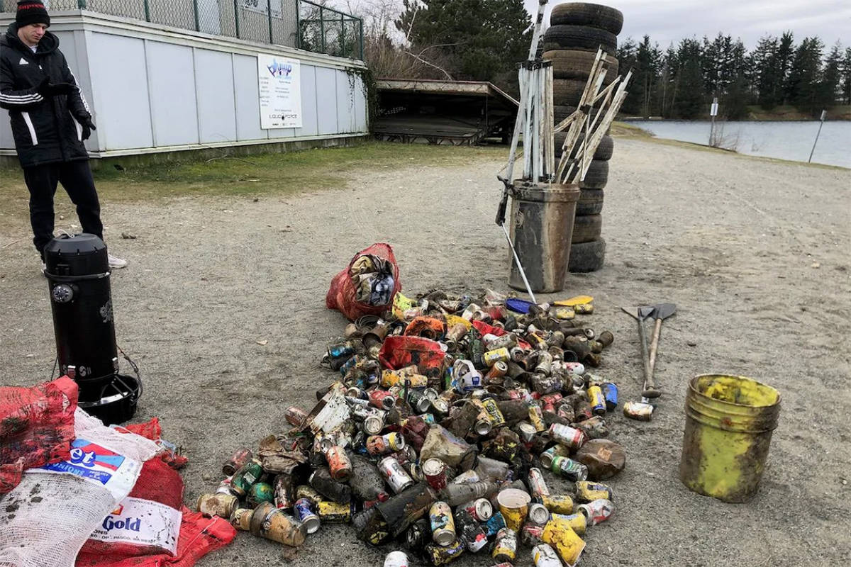 Some of the hundreds of pounds of trash removed by divers last month from Abbotsford's Walmsley Lake.(Henry Wang photo)