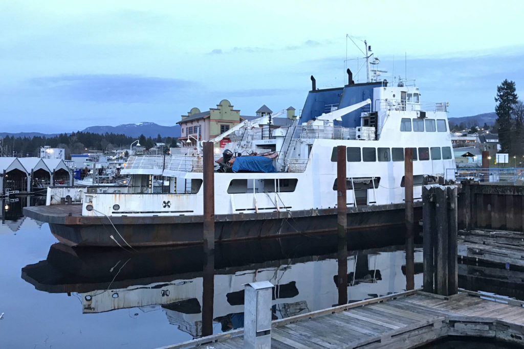 The former BC ferry MV Tanaka will be leaving Port Alberni's harbour at the end of March after someone in Alaska bought it from Lady Rose Marine Services. (SUSAN QUINN/ Alberni Valley News)