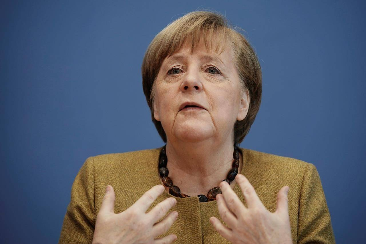 German Chancellor Angela Merkel has in the past warned of Öffnungsdiskusionorgien (translated as an orgy of discussions about openings), one of one of the 1,200 words added to the German lexicon as reported by the Leibniz Institute for the German Language. (Michael Kappeler/Pool via AP)