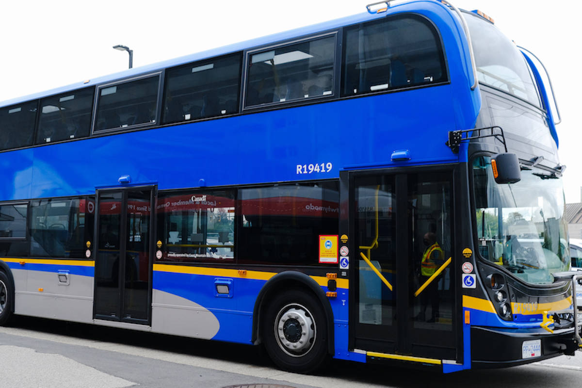 The one-month pilot will begin March 6 on a 60-foot articulated bus and two double-decker buses. (TransLink)