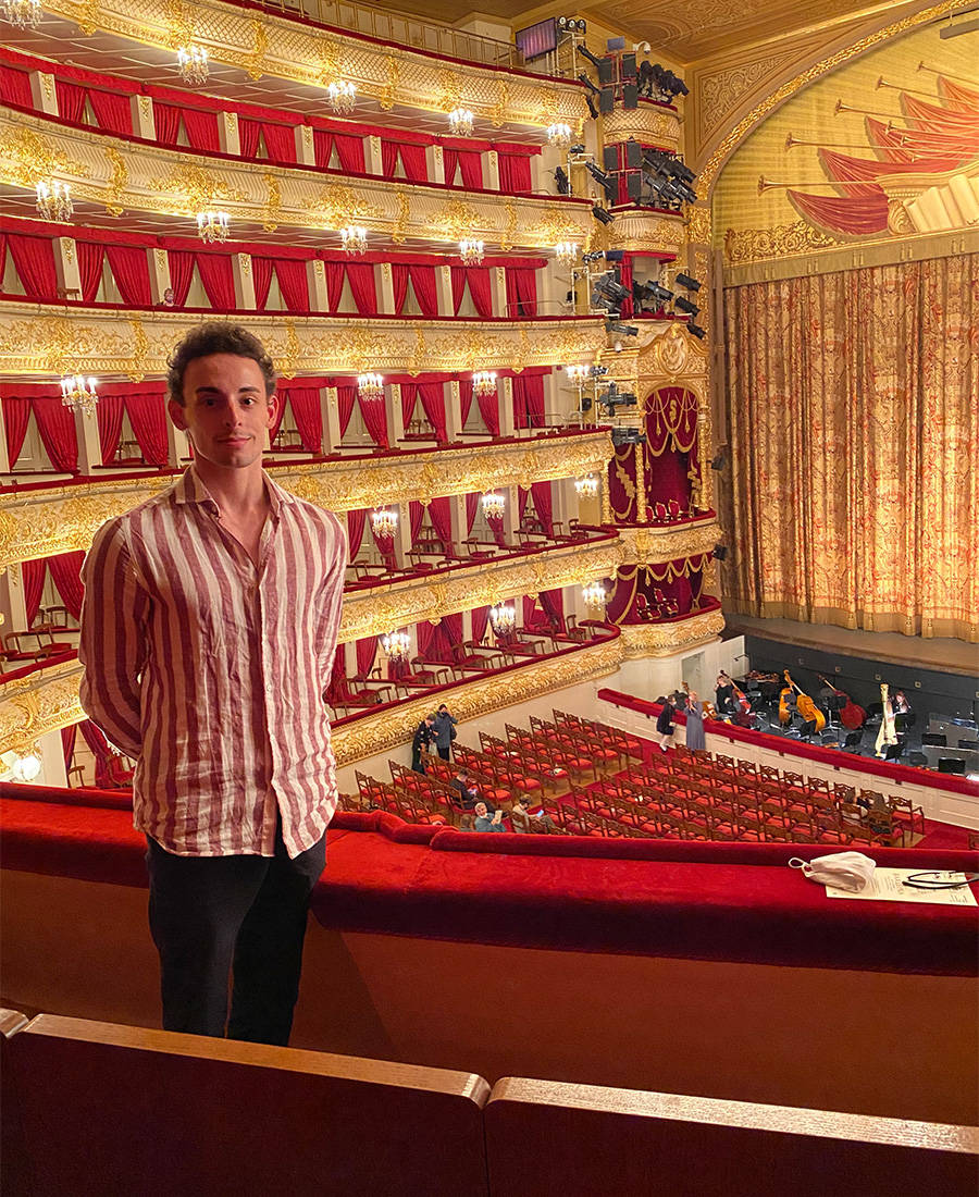 Zachary Rogers at the Bolshoi Theatre in Moscow, last December watching a ballet performance. He said places were slow in the country to close for COVID-19. However, Moscow went into lockdown last spring for several months. (Submitted)