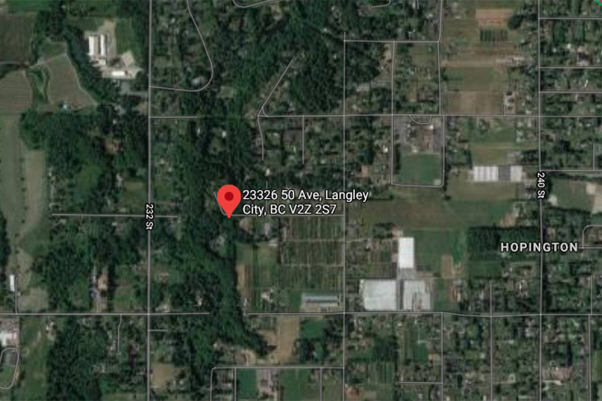 Township of Langley firefighters responded to a barn fire at 23326 50 Ave. around 3:54 a.m. on Wednesday morning, March 10, 2021. (Google)