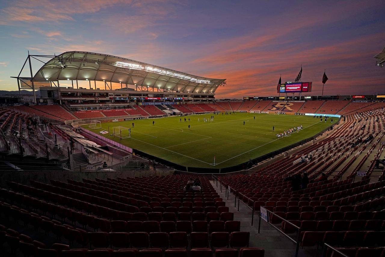 The sun sets above Rio Tinto Stadium before an MLS soccer match between Real Salt Lake and Portland Timbers in Sandy, Utah, on October 14, 2020. THE CANADIAN PRESS/AP, Rick Bowmer