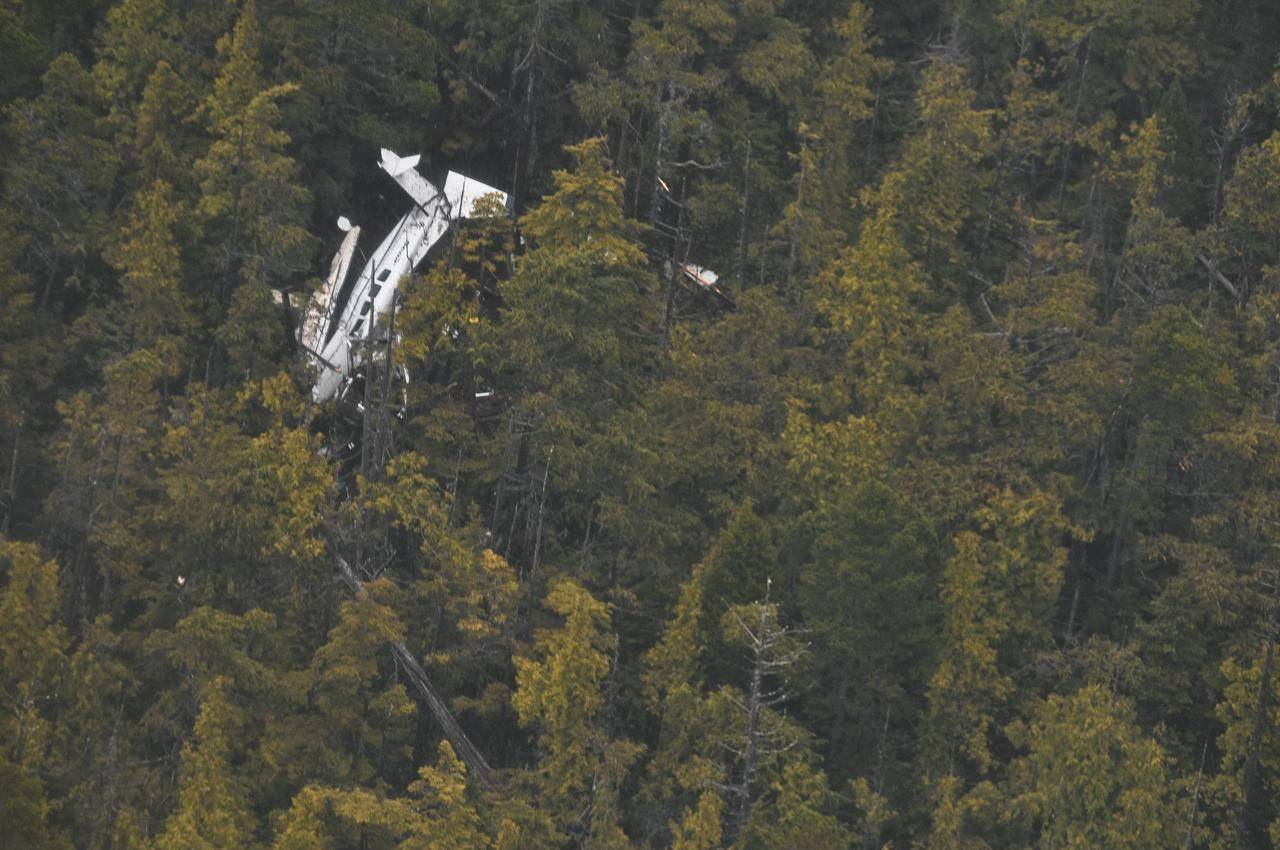 A plane's fuselage is seen through the canopy of forest at a crash site on Addenbroke Island, B.C. The Transportation Safety Board of Canada says a decision to continue flying in poor weather led to the float plane crash that killed four people and injured five others. THE CANADIAN PRESS/HO-Royal Canadian Air Force, 442 Squadron