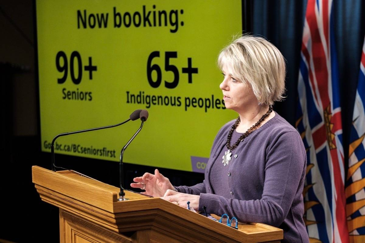 Provincial health officer Dr. Bonnie Henry speaks about COVID-19 vaccination program at the B.C. legislature, March 8, 2020. (B.C. government)