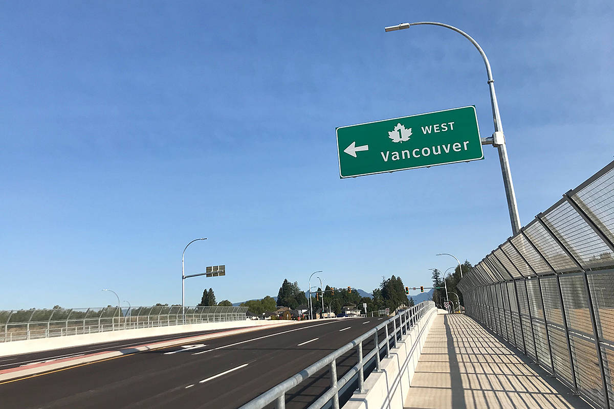 The new 216th Street interchange, at the freeway, opened in early September, 2020. (Langley Advance Times files)