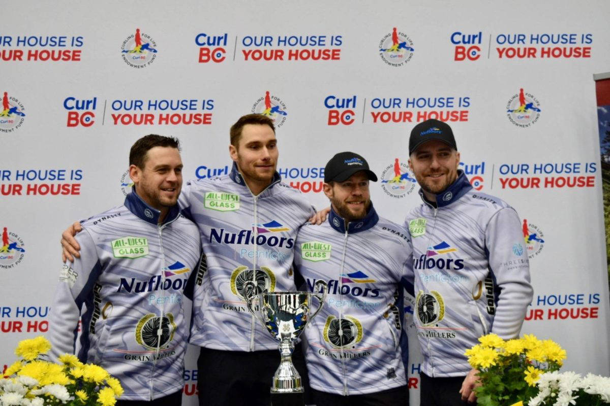 Team B.C.'s Rick Sawatsky (Vernon and now living and working in Kelowna, from left), Andrew Nerpin (Kelowna), Jim Cotter (Vernon) and Steve Laycock (Saskatoon), have a 2-4 record heading into the final day of preliminary round action Thursday, March 11, at the Tim Hortons Brier Canadian men's curling championship in Calgary. (Black Press - file photo)
