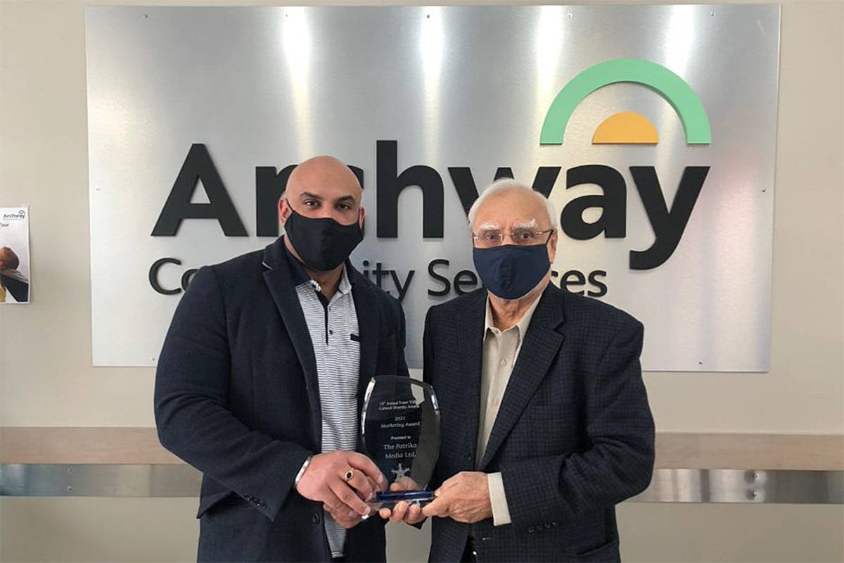 Dave and Andy Sidhu of The Patrika newspaper were among the recipients of the Fraser Valley Cultural Diversity Awards, presented virually on March 12. (Submitted photo)