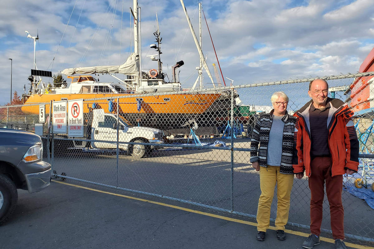 Paul and Marion Bauer pose for a picture at the shipyard in Campbell River where their boat was getting repaired. The couple who set sail from Germany in 2017 to circumnavigate the globe, found their plans altered after the pandemic struck in 2020.