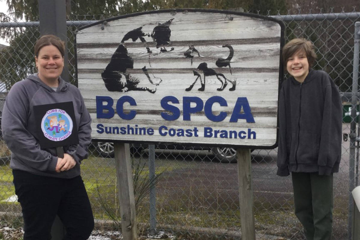 Megan Kelso and Cody, 10, are planning to walk from Gibsons to Powell River to raise funds for solar panels on the roof of the Sechelt SPCA animal shelter. (Megan Kelso)