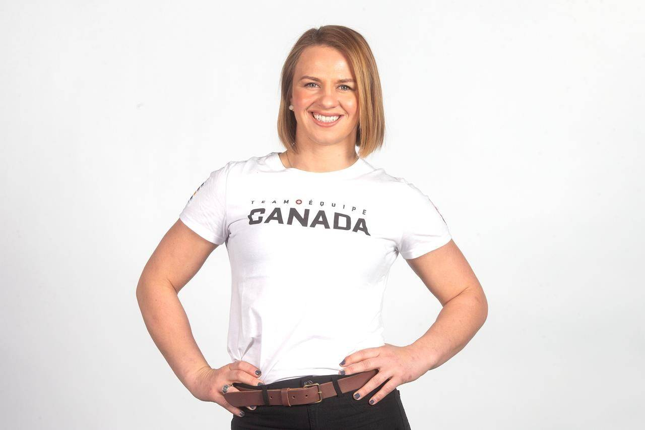 Canadian Olympic Athlete Erica Wiebe poses for a photo during a media availability in Toronto on Thursday, Dec. 12, 2019. Weibe, an Olympic gold medallist, is hopeful an IOC deal with China on vaccines can help the global fight against COVID-19 ahead of the Tokyo Games this summer. THE CANADIAN PRESS/Chris Young