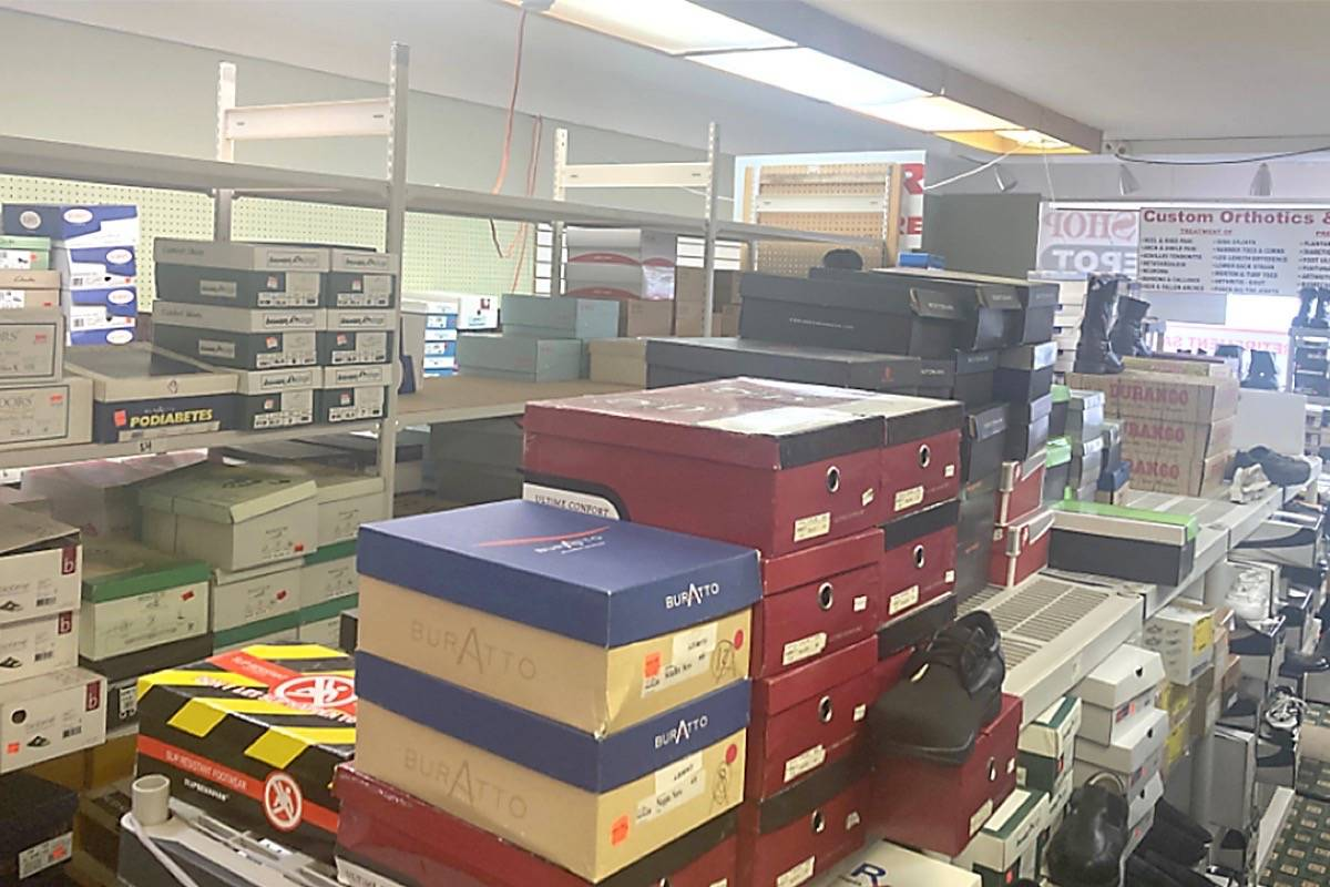 Mohammad Shafi's inventory of shoes that are being donated to the Mt. Arrowsmith Salvation Army. (Submitted photo)