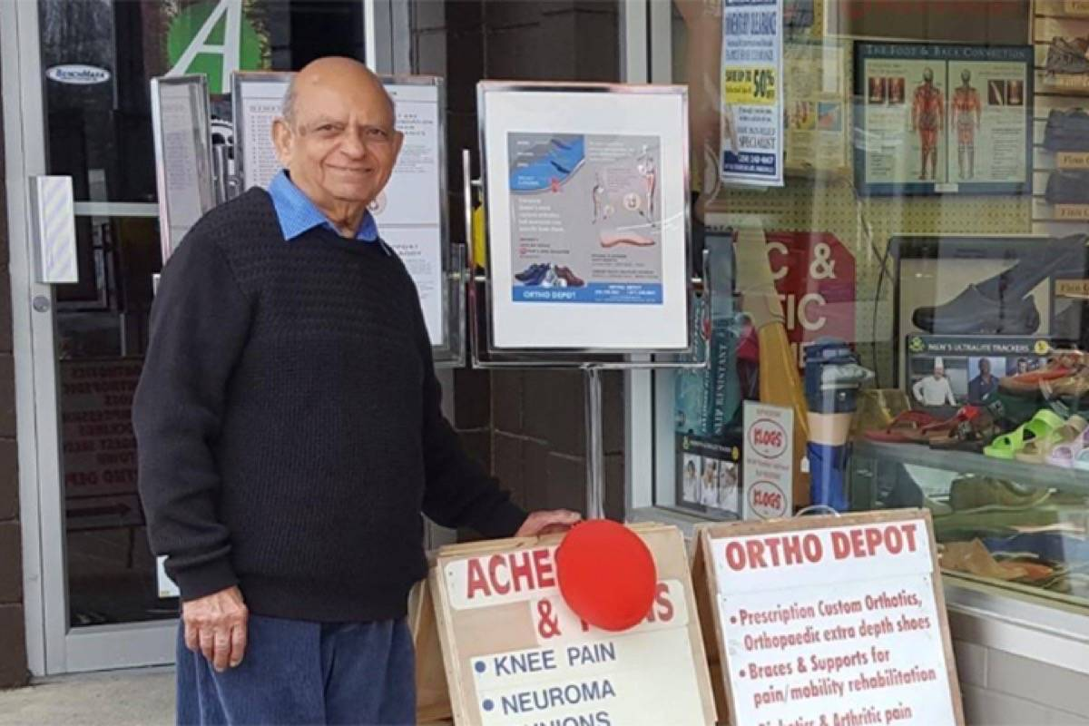 Mohammad Shafi of Parksville has retired after 70 years in the shoe business. (Facebook photo)