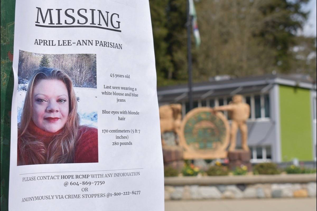 A missing persons poster for April Parisian in front of Hope's district hall. Emelie Peacock/Hope Standard