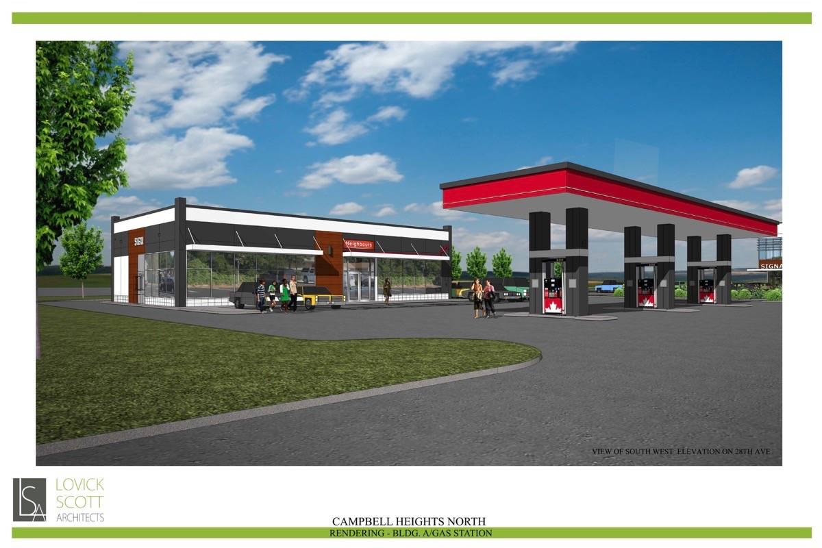 A gas station and drive-thru restaurant are part of a proposal for three lots at 28 Avenue and 192 Street. (City of Surrey rendering)