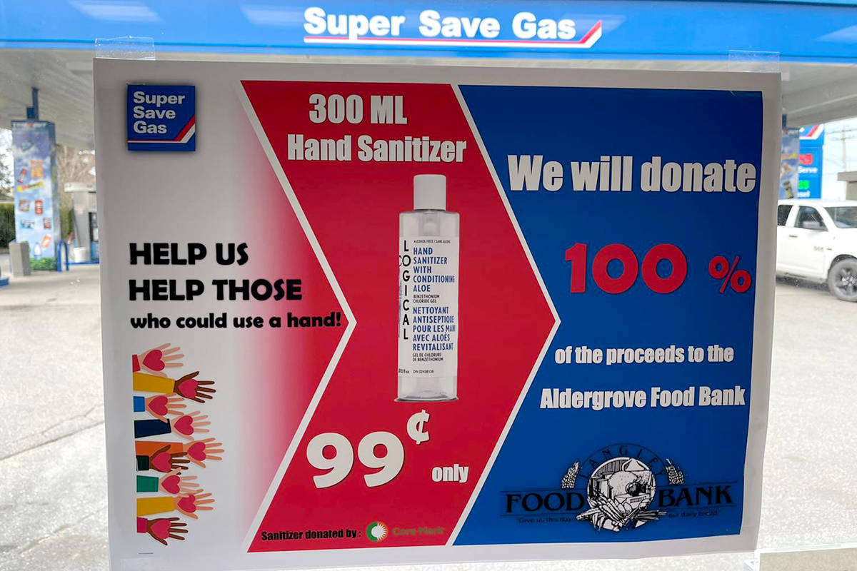 Proceeds from 99 cent bottles of hand sanitizer from Super Save Gas to the Aldergrove Food Bank. (Special to The Star)