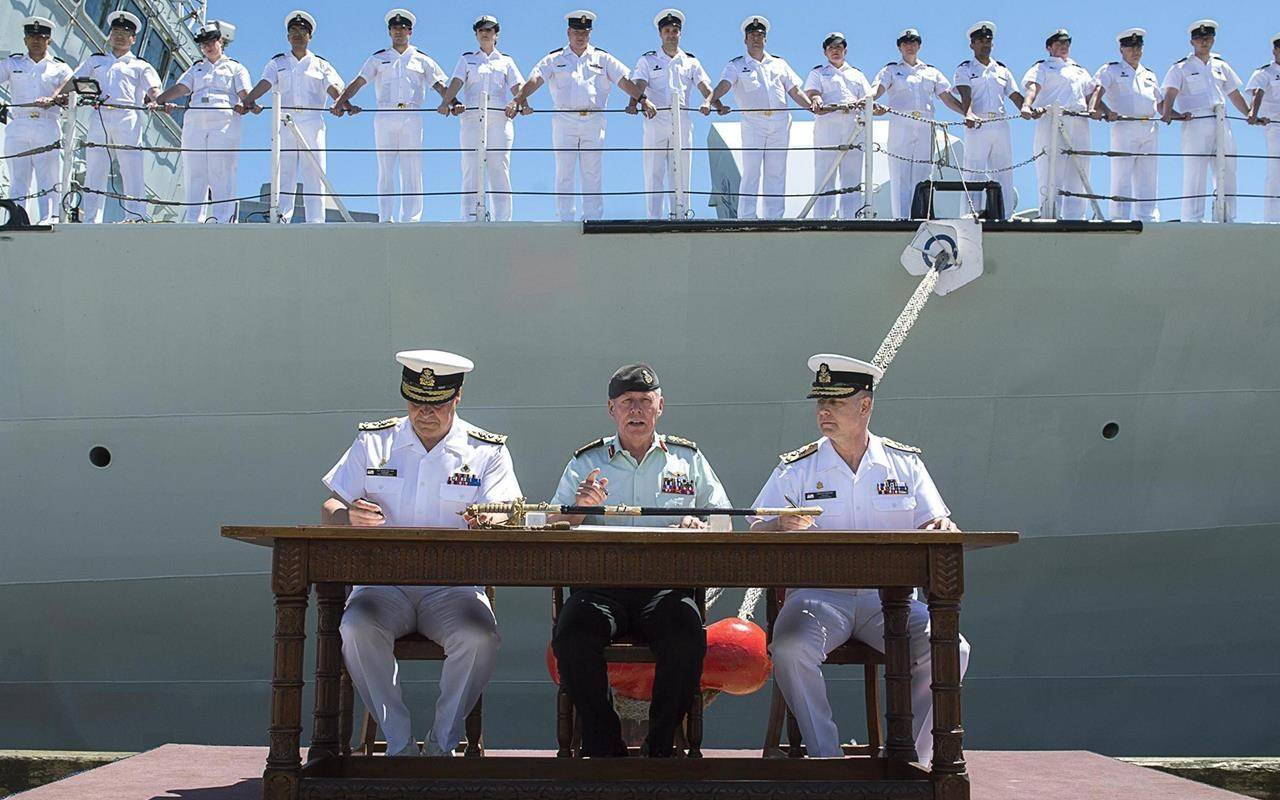 Gen. Jonathan Vance, centre, presided over the Royal Canadian Navy's change of command. Vance has retired as chief of the defence staff but faces allegations of sexual misconduct, which he denies. McDonald, Vance's successor at the apex of the Canadian Forces, has stood aside while unspecified allegations against him are investigated. THE CANADIAN PRESS/Andrew Vaughan