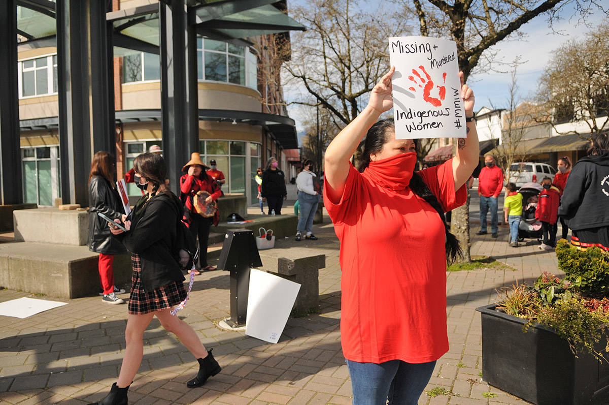 Tanya Sanford was one of about 30 people who gathered at Five Corners in Chilliwack on Saturday, March 13, 2021 for MMIW Takes Back Canada, a nationwide endeavour to draw attention to the issue of missing and murdered Indigenous women. She helped organize the event in Chilliwack. (Jenna Hauck/ Chilliwack Progress)
