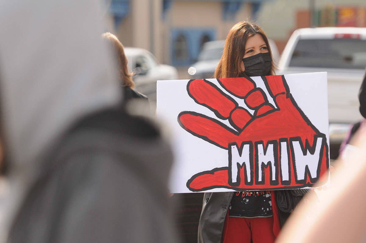 Chief Brenda Wallace of Soowahlie First Nation was one of about 30 people who gathered at Five Corners in Chilliwack on Saturday, March 13, 2021 for MMIW Takes Back Canada, a nationwide endeavour to draw attention to the issue of missing and murdered Indigenous women. (Jenna Hauck/ Chilliwack Progress)