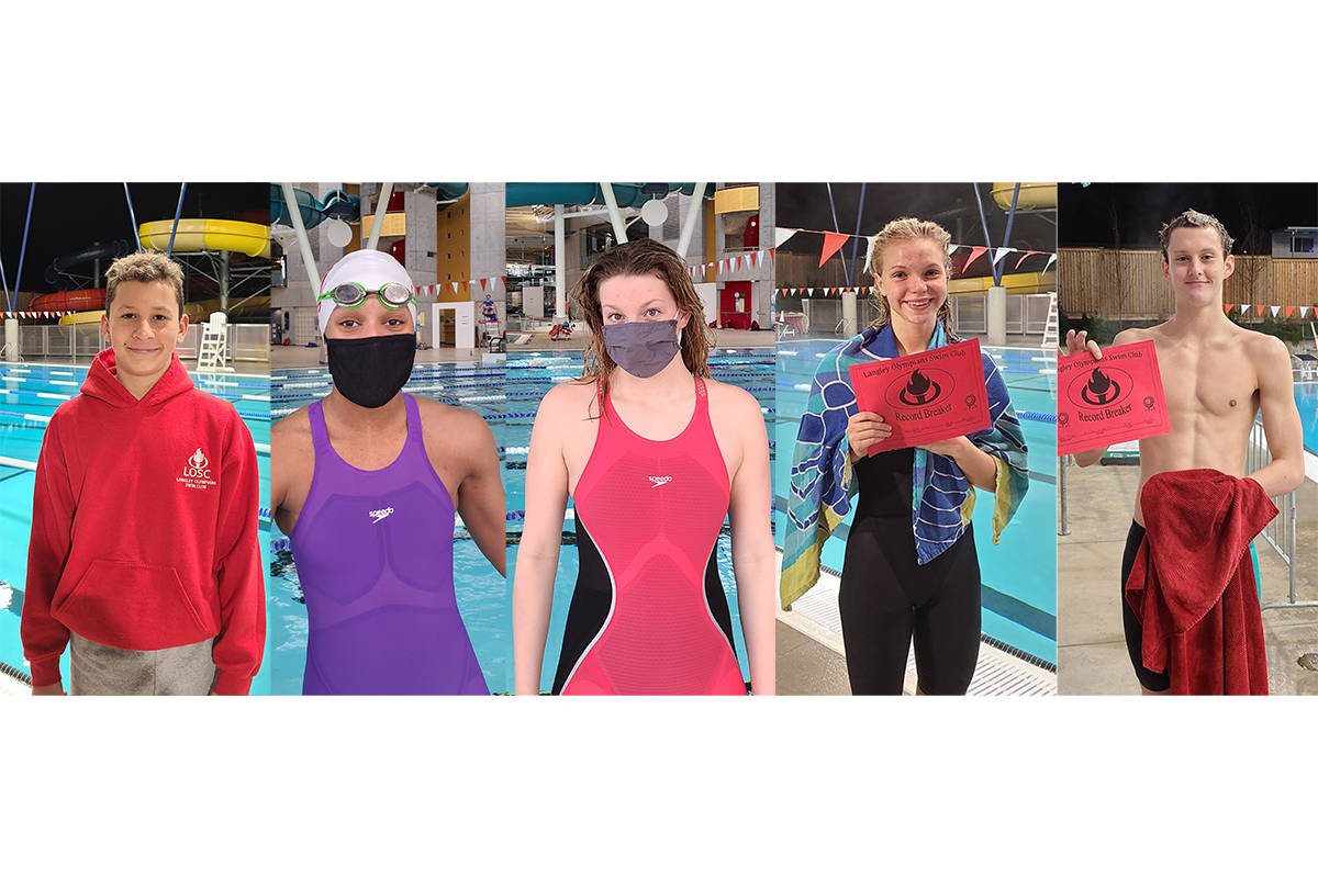 LOSC swimmers Alex Velicico, Leilani Fack, Katie Schroeder, Bailey Herbert and Hugh McNeil have set 27 new club records between them (LOSC/Special to Langley Advance Times)