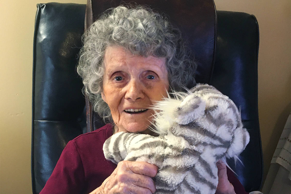 Dorothy Chura, a resident at Vernon's Heritage Square long-term care facility, celebrates her 105th birthday March 16, 2021. She's believed to be B.C.'s oldest COVID-19 survivor. (Contributed)