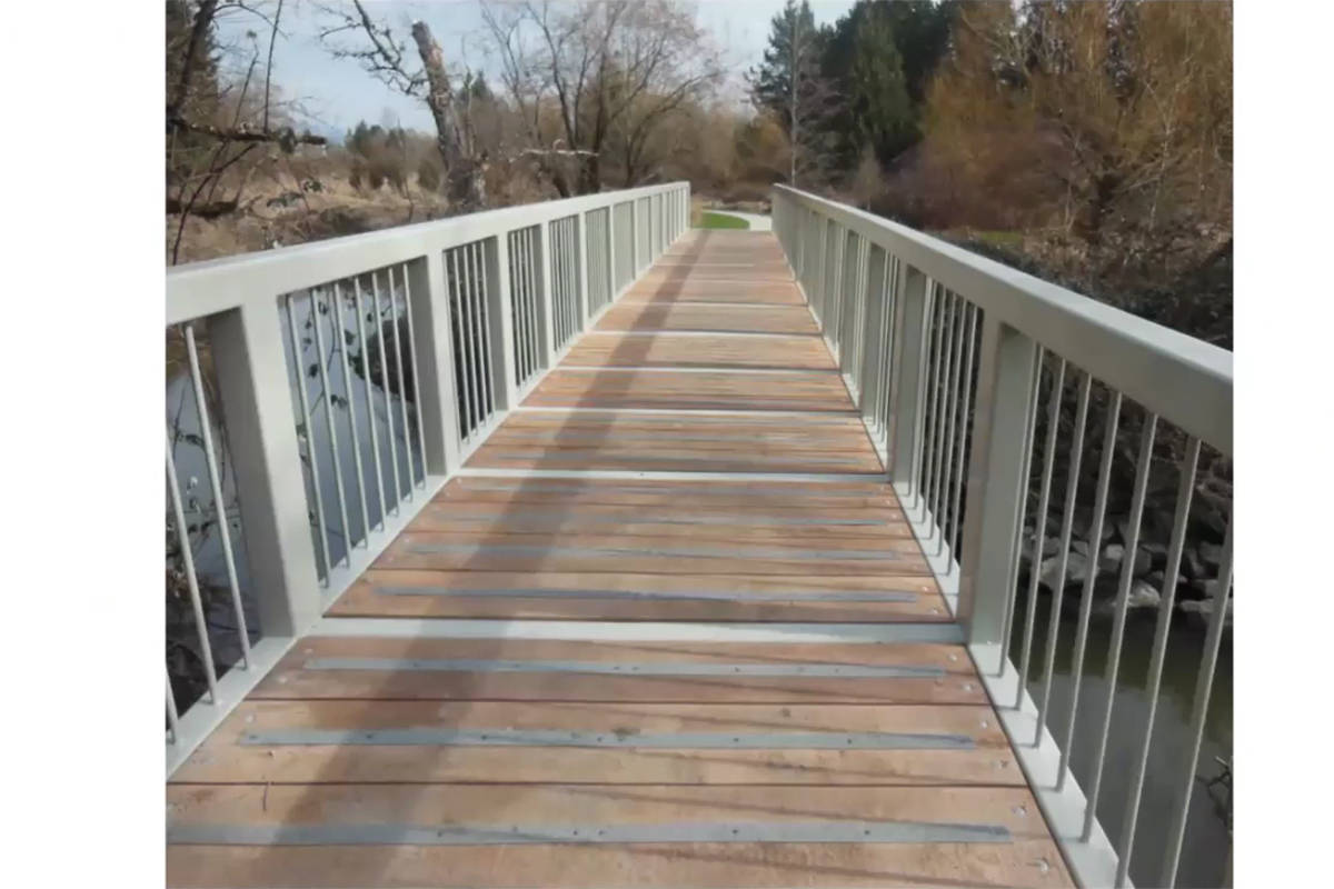 A view of the first redone pedestrian bridge that is now back in position, having been sandblasted, repainted, and re-decked (Special to Langley Advance Times)