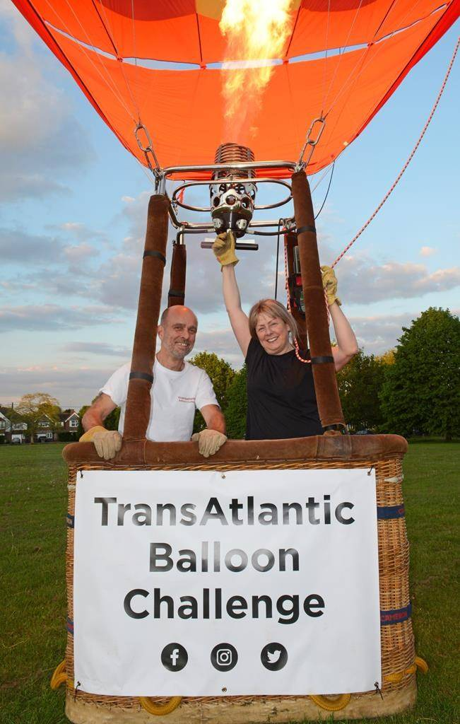 Mike Scholes and Deborah Day are seen in this undated handout photo. A British couple is hoping 2021 is their year for a record-setting transatlantic balloon flight after the COVID-19 pandemic deflated their plans last year. Deborah Day and Mike Scholes of Sussex, U.K., are hoping international borders will open by summer to allow them to attempt their crossing from Sussex, N.B., to Europe. THE CANADIAN PRESS/HO *MANDATORY CREDIT*