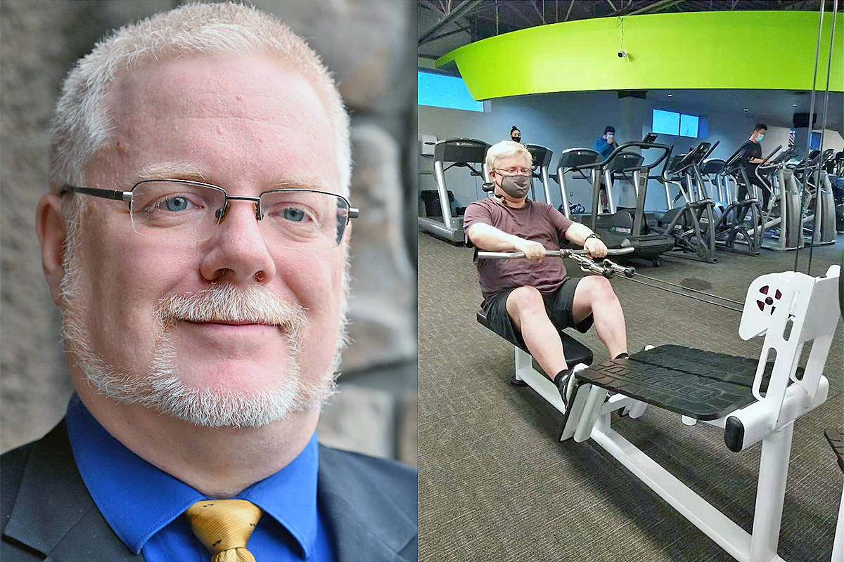 At 53, Langley City resident John Lombard has entered a reality-TV fitness challenge, getting workouts in at Sandcastle Fitness in Surrey and posting about his progress to social media (Special to Langley Advance Times)