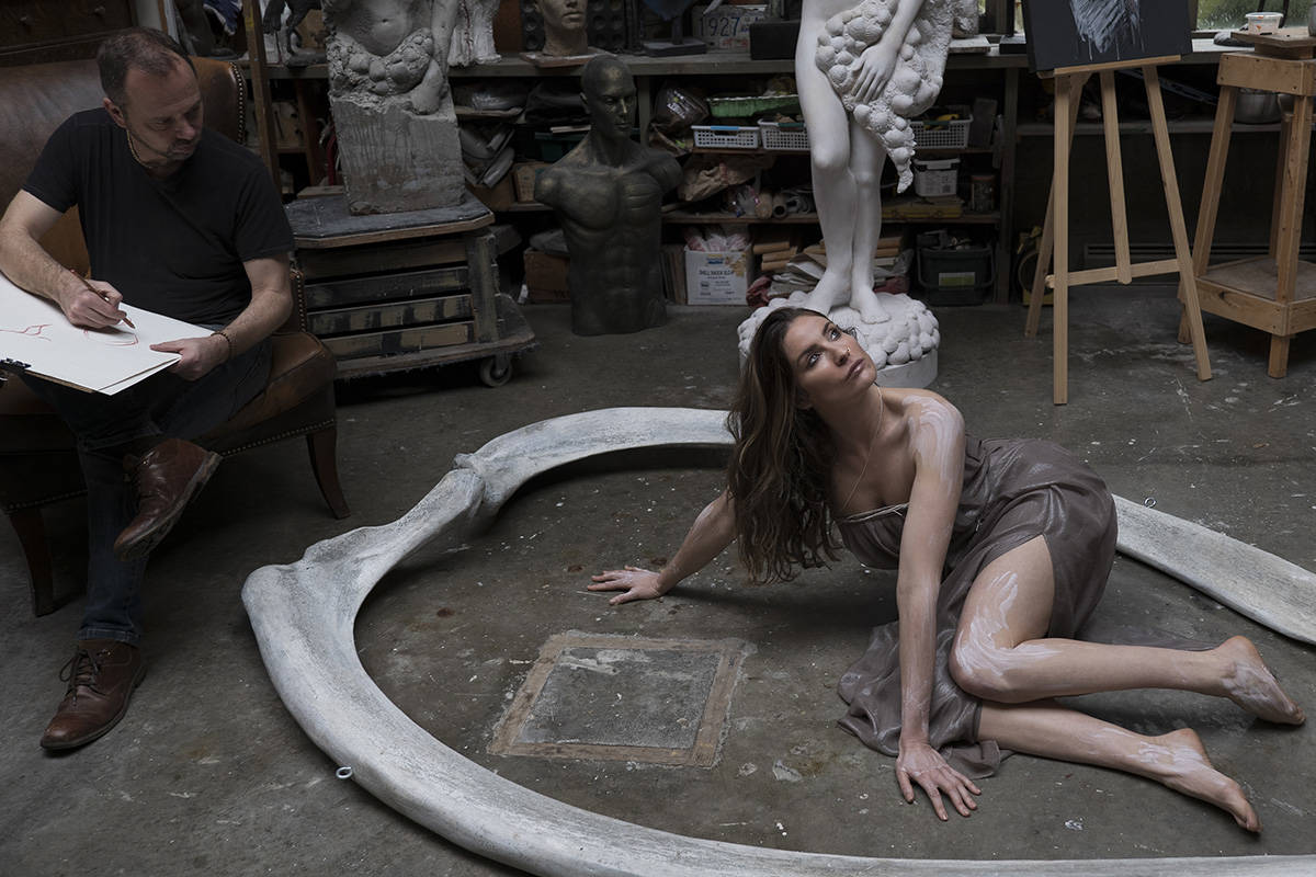 Model Tessa Hamelin and sculptor David Hunwick. Lia Crowe photography.
