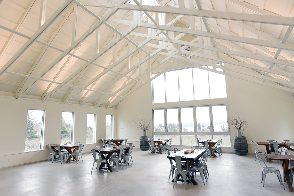 An interior view of the Sea CiderFarm and Ciderhouse's new Pavilion, designed by Cascadia Architects.  Don Denton photo
