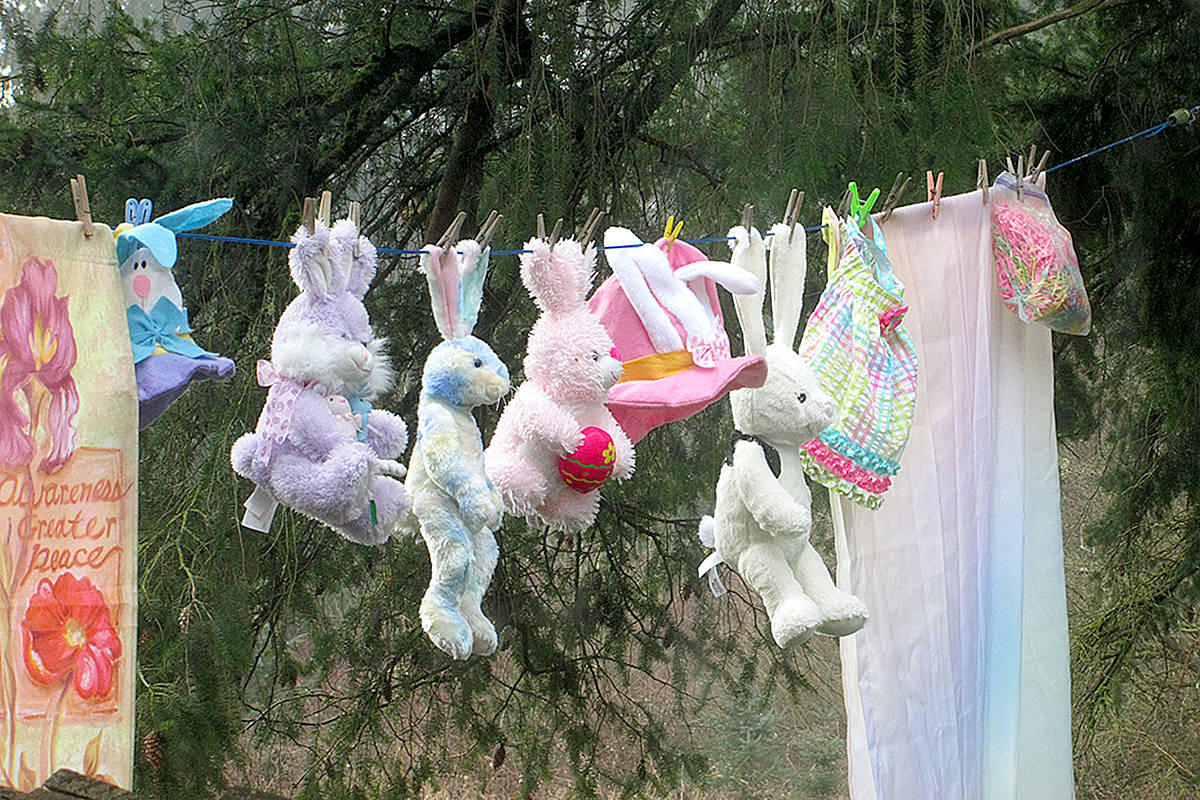 """People walking through Portage Park in Langley City were recently treated to an odd sight. Michaud Heritage House caretaker Sandra Reams hung some unexpected spring decorations on the clothesline, anxious to lift people's spirits. """"Hope this puts a smile on your face,"""" she said. (Special to Langley Advance Times)"""