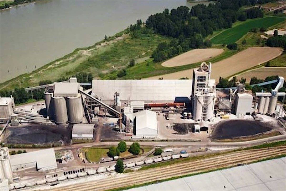 Lehigh cement plant in Delta is one of the industries affected by B.C.'s carbon tax, giving a price advantage to U.S. and Asian producers. LNG plants add another major emitter. (Black Press files)