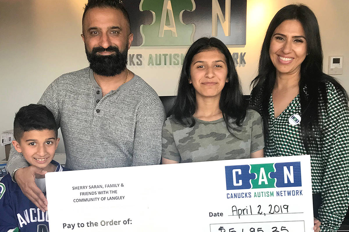 In 2019, the Saran family took the money raised from their bottle and community fundraising drive to the Canuck Autism Network on World Autism Awareness Day. They presented the organization with almost $5,700. This year's event will be held on March 27, 2021 from 1-4 p.m. at Langley Fundamental Elementary School. (Langley Advance Times file)