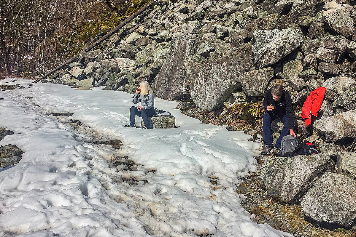 Pam and Brian Smith of Maple Ridge hiked up to Alder Flats and the Lookout in Golden Ears Provincial Park this past weekend, prepared for the mild winter conditions they encountered. (Ron Paley/Special to The News)