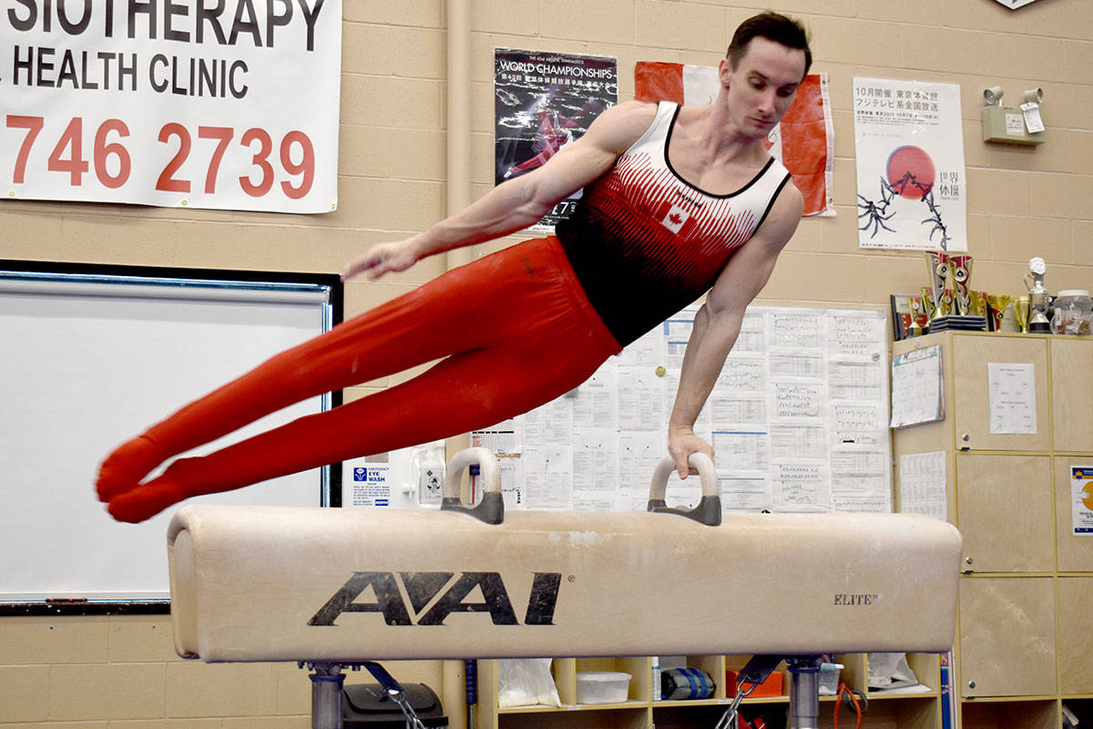 Langley's Zachary Clay competes on the pommel horse during the Abbotsford-based Twisters Invitational event. Hundreds of gymnasts from all across B.C. are competing virtually and will be judged this weekend. (Ben Lypka/Abbotsford News)