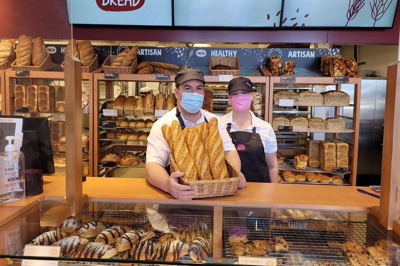 "Bakery owners Mike Livingstone and Annie Hoare, shown in this March 2021 handout image, opened the first COBS Bread bakery in Georgetown, Ont., in December. ""I didn't have as much to lose,"" Livingston says of launching a business in the midst of a pandemic after he was laid off as a transportation executive. THE CANADIAN PRESS/HO"