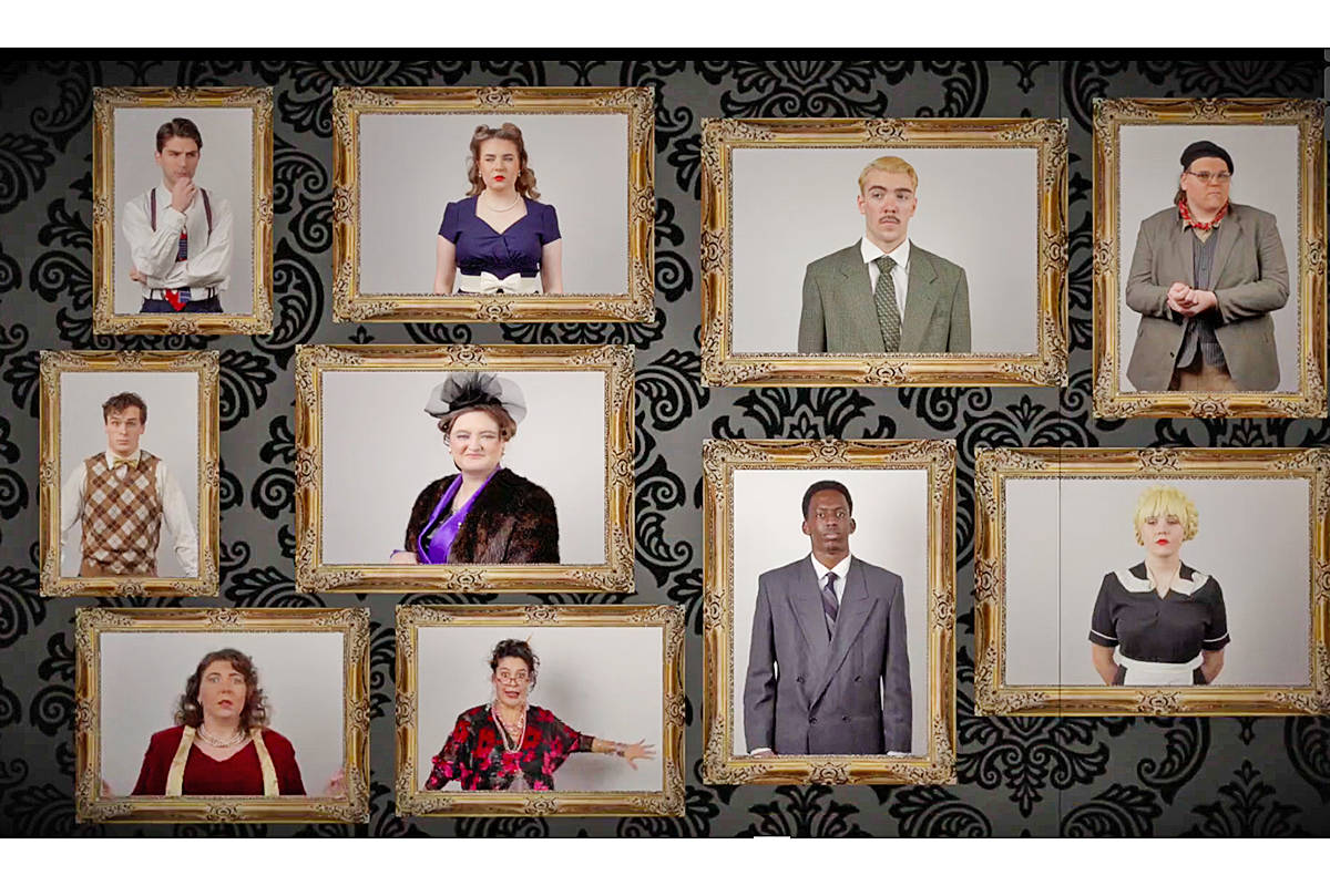 Cast members of the TWU production of 'The Musical Comedy Murders of 1940' which was set to open March 24 on streaming video (Special to Langley Advance Times)