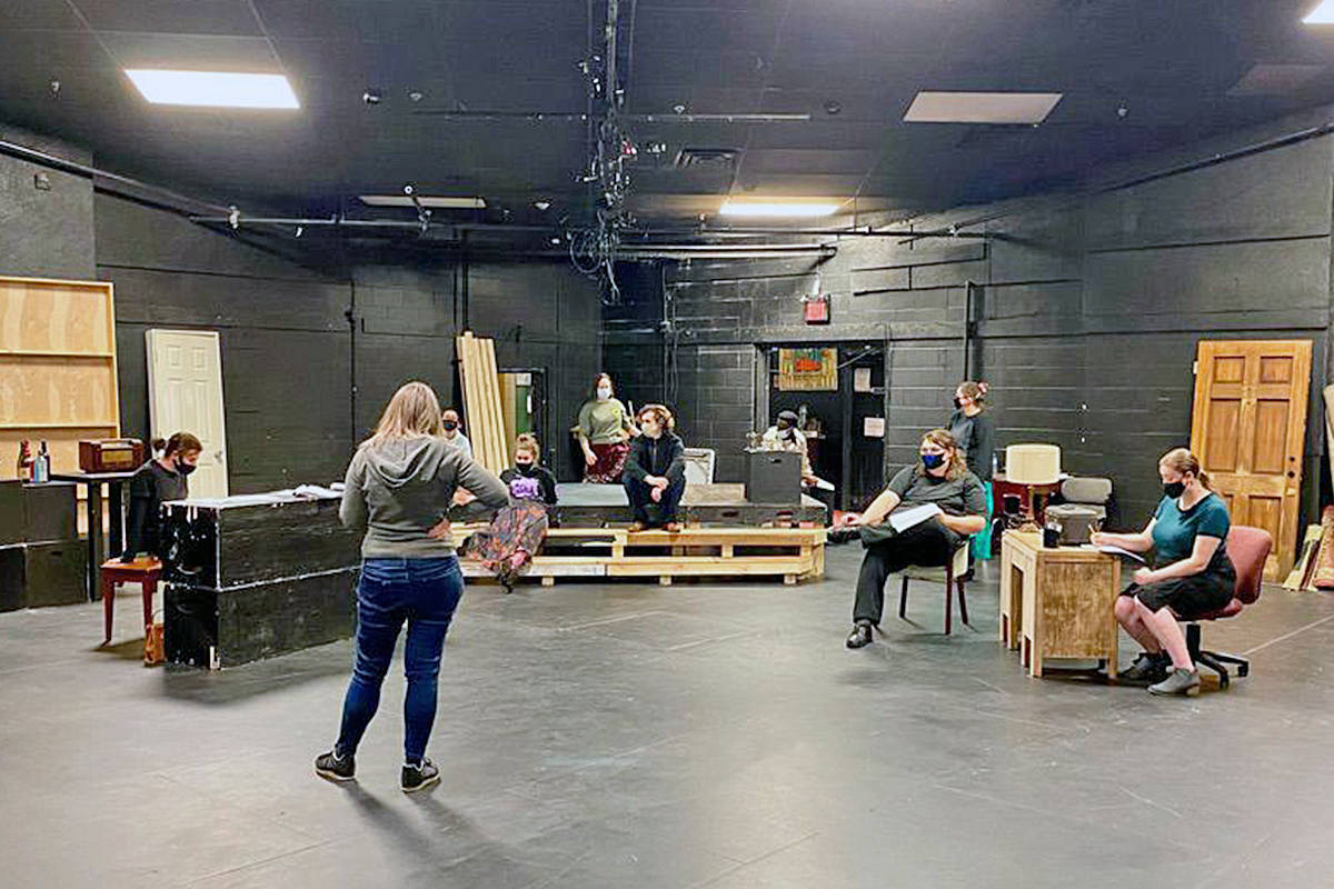 TWU actors rehearsed their return to the stage for 'The Musical Comedy Murders of 1940' prior to it live streaming beginning March 24 (Special to Langley Advance Times)