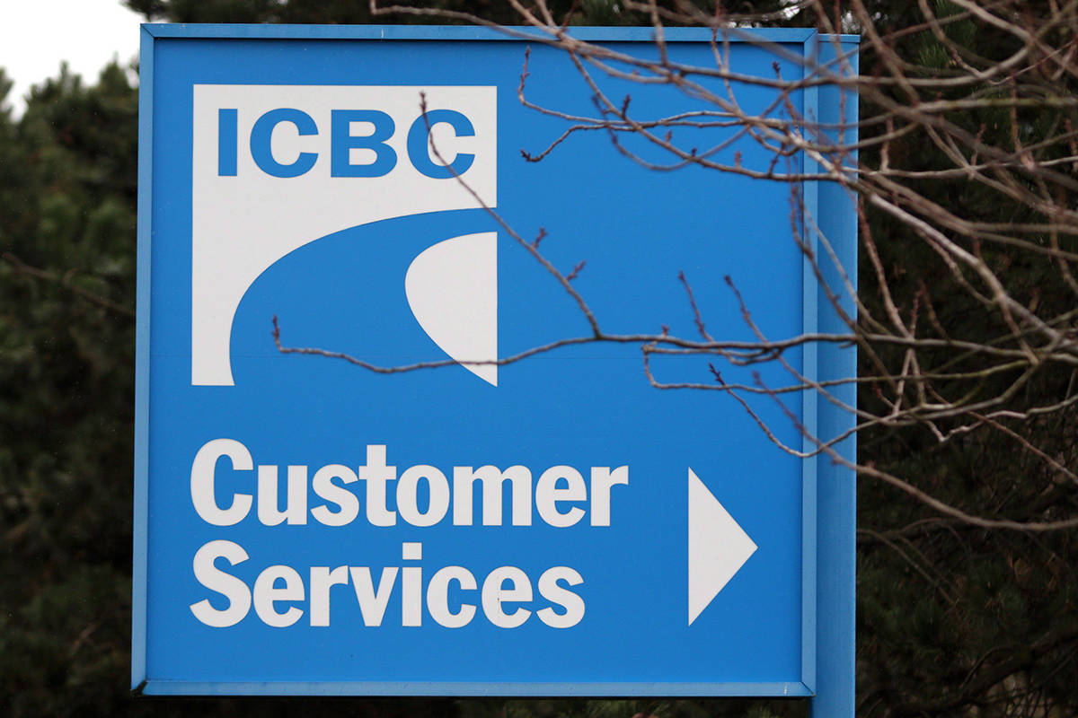 FILE – Signage for ICBC (Insurance Corporation of British Columbia) is shown in Victoria, B.C., on February 6, 2018. THE CANADIAN PRESS/Chad Hipolito