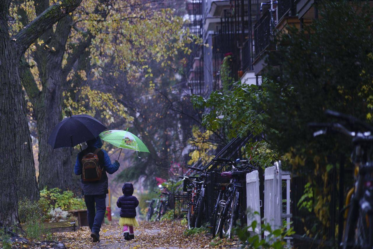 A man walks his daughter to daycare on a rainy morning in Montreal on October 26, 2020. THE CANADIAN PRESS/Paul Chiasson